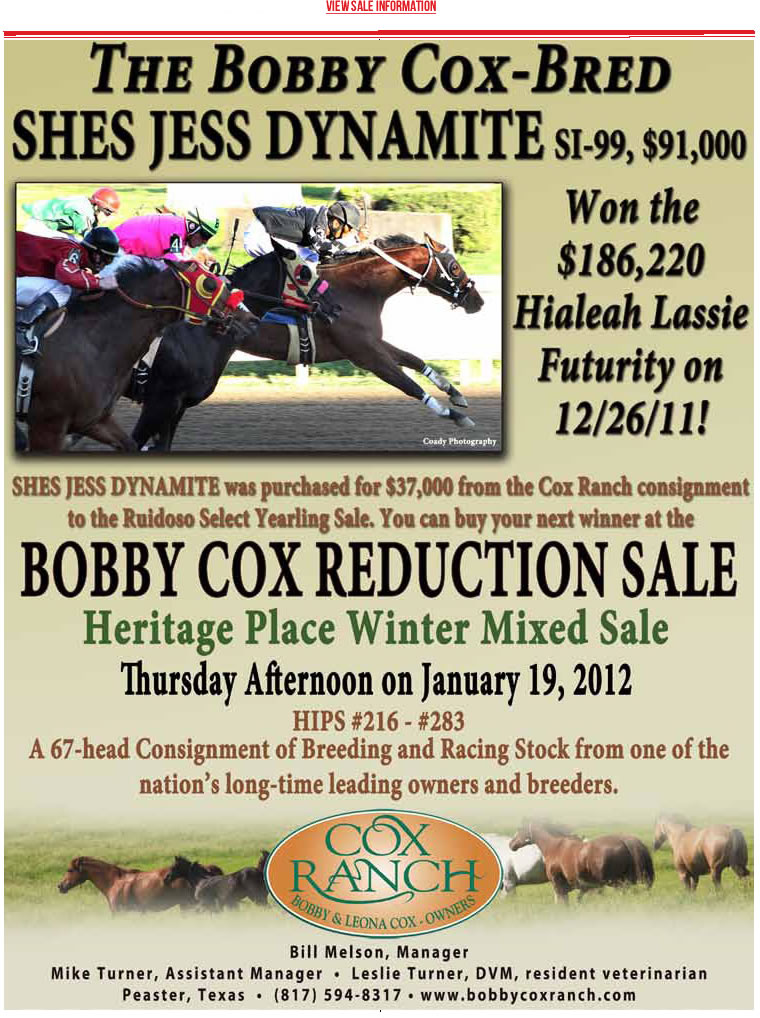Upcoming Horse Sales | Bobby Cox Ranch